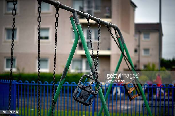 An unused play park in the Drumchapel area on July 28 2015 in GlasgowScotland Thousands of households in the UK are slipping below the poverty line...