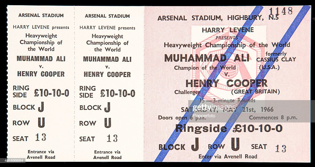 An unused ringside ticket for the World Heavyweight Boxing