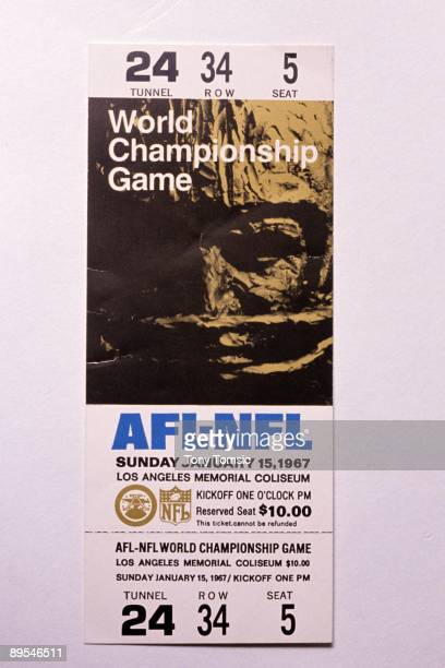 An unused ticket for the AFLNFL Championship Game played on January 15 1967 between the Kansas City Chiefs of the American Football League and the...