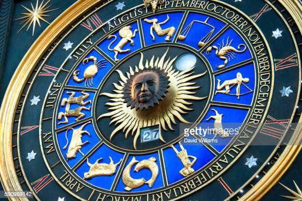 An unusual astronomical sundial related clock'. Winston Churchill's face. Bracken House, 1959, London