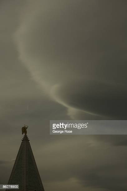 An unusual cloud formation hangs in the sky above the Venetian Hotel Casino clocktower as seen in this 2009 Las Vegas Nevada early morning exterior...