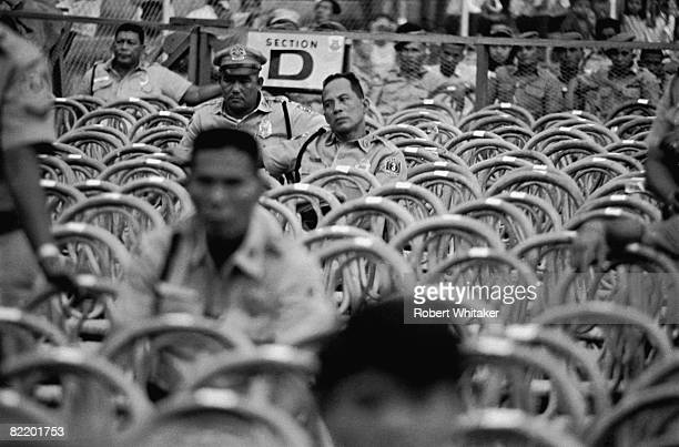 An unusually empty section of the seating probably reserved for dignitaries at the Rizal Memorial Football Stadium Manila Philippines before a...