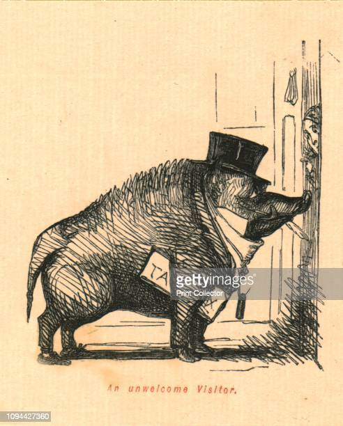 An Unwelcome Visitor', 1897. The taxman portrayed as a wild boar in a top hat. From 'The Comic History of England' by Gilbert Abbott A Beckett, with...