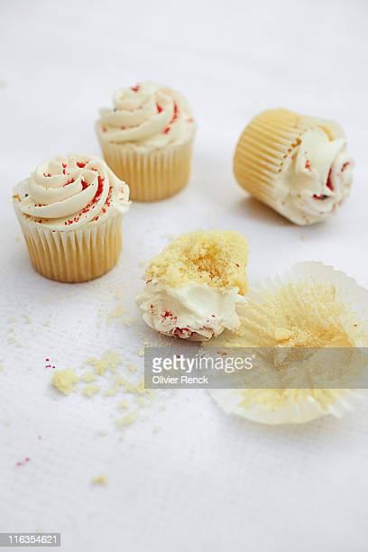 An up close portrait of mini cupcakes.