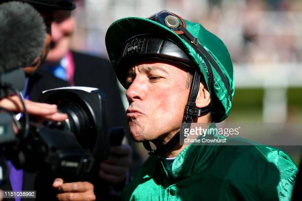 An upbeat Frankie Dettori kisses the tv camera as he finishes second on Turgenev on day three of Royal Ascot at Ascot Racecourse on June 20, 2019 in...