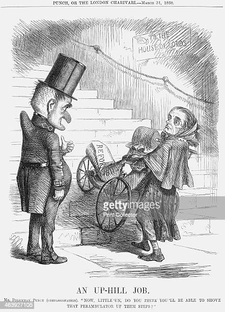 'An Up-hill Job', 1860. Mr Policeman Punch says, , : Now, Little'un, do you Think you'll be able to Shove that Perambulator Up them Steps. At the...