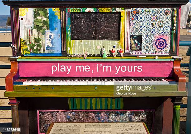 An upright piano beckons visitors to play on April 14 2012 in Santa Monica California Millions of tourists flock to the Los Angeles area to visit...
