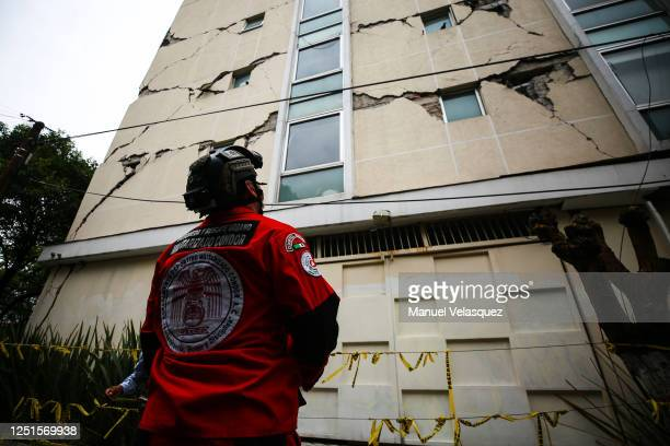 An urban search and rescue rescuer looks a damage bulding since the 2017 earthquake on June 23, 2020 in Mexico City, Mexico. According to the...