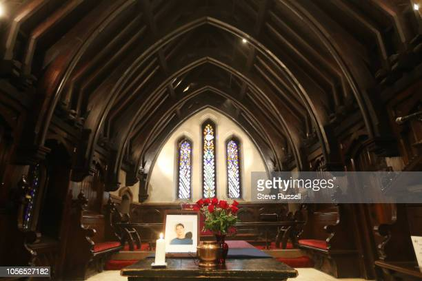 TORONTO ON NOVEMBER 2 An urn containing the remains of Dean Lisowick sits on the altar A funeral is held for Dean Lisowick who was one of the alleged...