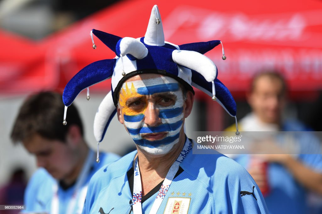 An Uruguay's fan looks on outside the stadium before the Russia 2018 World Cup Group A football match between Uruguay and Russia at the Samara Arena in Samara on June 25, 2018.