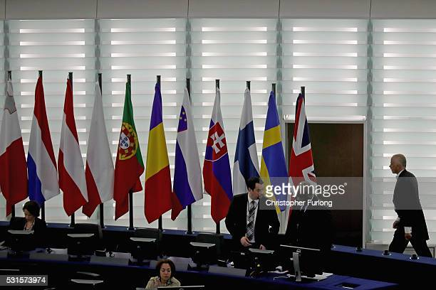 An usher walks past flags of the EU inside the European Parliament on May 11 2016 in Strasbourg France The United Kingdom will hold a referendum on...
