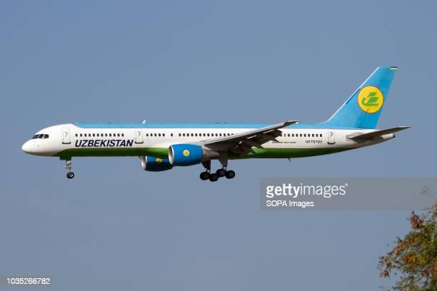 An Uzbekistan Airways Boeing 757-200 landing at Rome Fiumicino airport.