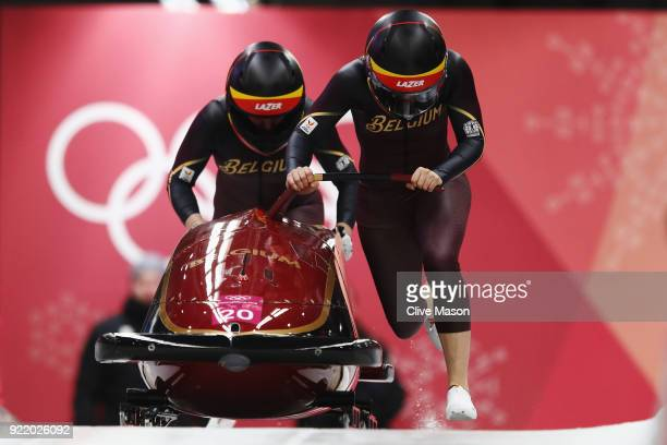 An Vannieuwenhuyse and Sophie Vercruyssen of Belgium slide during the Women's Bobsleigh heats on day twelve of the PyeongChang 2018 Winter Olympic...