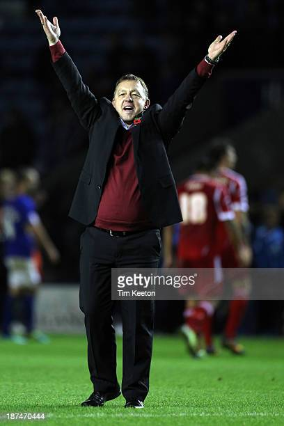 An very happy Nottingham Forest's Manager Billy Davies after the final whistle during the Sky Bet Championship match between Leicester City and...