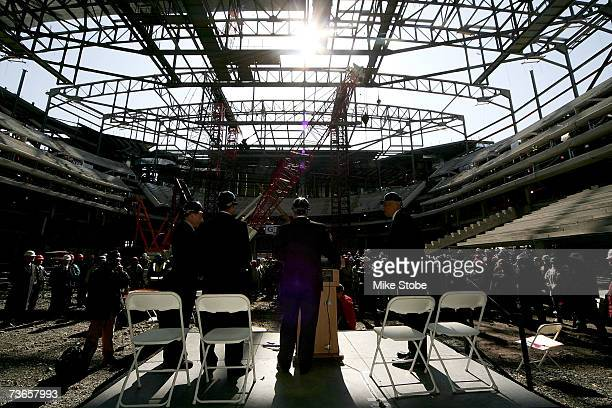 An view from behind the stage during a topping off ceremony at the Prudential Center on March 21, 2007 in Newark, New Jersey. The 18,000-seat...