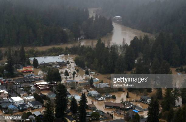 An view of floodwaters in downtown Guerneville on February 27 2019 in Guerneville California The Russian River has crested over flood stage and is...