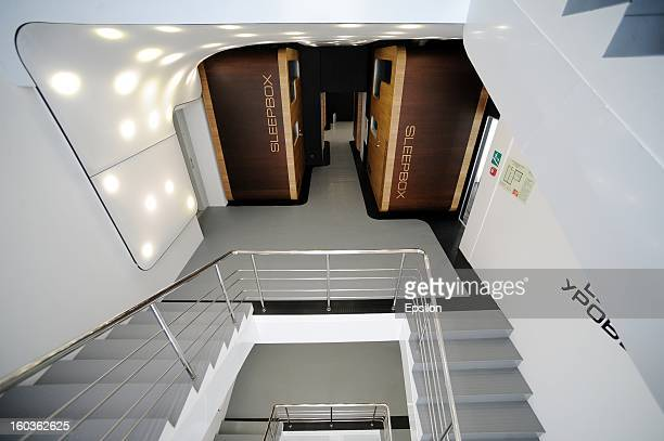 An view of Moscow's first capsule hotel 'Sleepbox Hotel Tverskaya' on January 29 2013 in Moscow Russia The new hotel is the first of its kind in the...