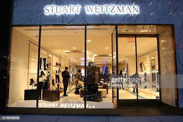 An view of the exterior of the Stuart Weitzman Madison Avenue Flagship Store before Stuart Weitzman And Quest Invite You To Celebrate The New Look At...
