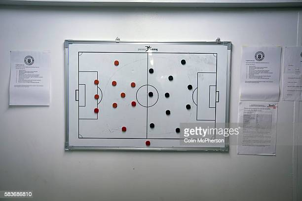 An view of the home dressing room tactics board at the Commonwealth Stadium at Meadowbank before the Scottish Lowland League match between Edinburgh...
