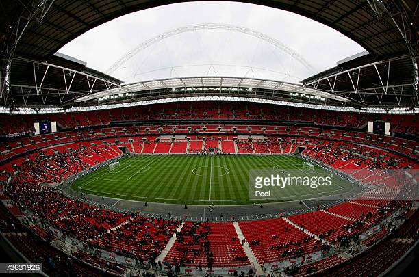 An view of Wembley Stadium on the Wembley Stadium Community Day on March 17, 2007 in London. The Stadium expects around 60,000 people to attend the...