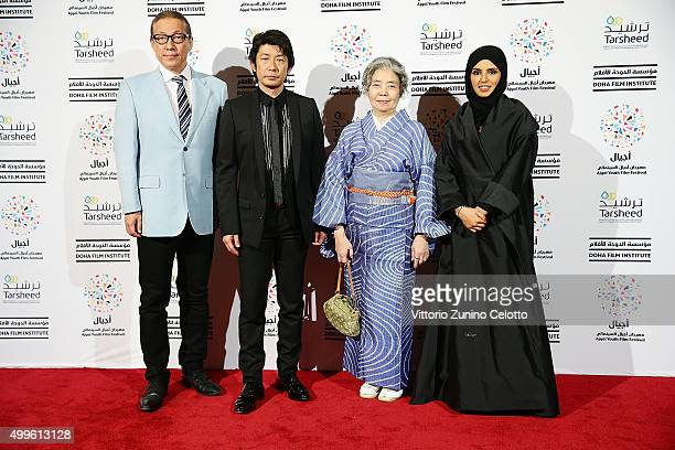 R 'An' writer Durian Sukegawa Actor Masatoshi Nagase actor Kirin Kiki and Ajyal Youth Film Festival Director and Doha Film Institute CEO Fatma Al...
