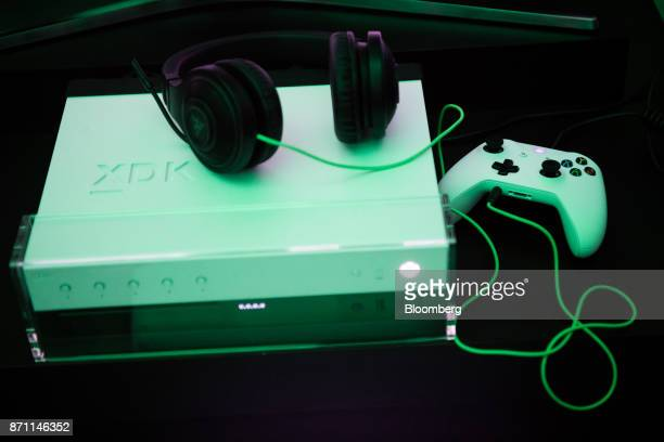 An Xbox Developer Kit version of the Xbox One X game console sits on display for customer demos during the Microsoft Corp global launch event in New...