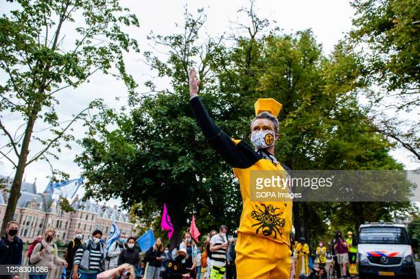 An XR model showing his bees design clothes during the fashion show. An 'XR fashion show' was carried out in front of the House of Representatives in...