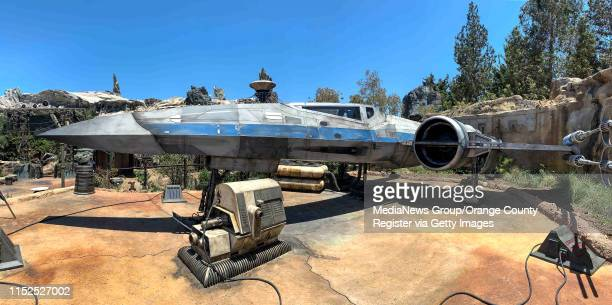 An X-Wing is parked at Black Spire Outpost inside Star Wars: Galaxy's Edge at Disneyland in Anaheim, CA, on Wednesday, May 29, 2019.