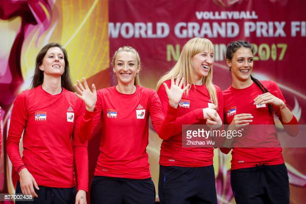 Ana Antonijevic and Brankica Mihajlovic of Serbia celebrate during the award ceremony 2017 Nanjing FIVB World Grand Prix Finals between Italy and...