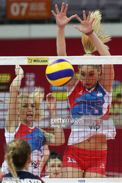 Ana Antonijevic and Jovana Stevanovic of Serbia in action during the match between Serbia and the United States during Day 1 of 2017 Nanjing FIVB...