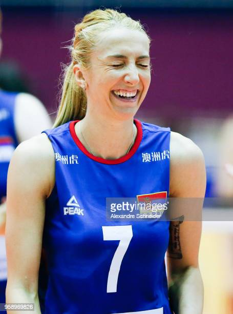 Ana Antonijevic of Serbia reacts during the match against Japan during the FIVB Volleyball Nations League 2018 at Jose Correa Gymnasium on May 15...