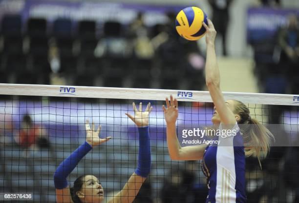 Ana Antonijevic of Valero Zurich in action against Camilla Adao of RexonaSesc during the semifinals match of the FIVB Womens Club World Championship...