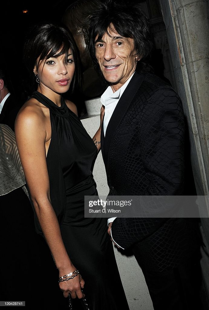 Ana Araujo and Ronnie Wood attend the FitFlop Shooting Stars Benefit closing ball at the Royal Courts of Justice. The event was hosted by Samuel L Jackson to raise money for Make-A-Wish Foundation UK at Royal Courts of Justice, Strand on August 5, 2011 in London, England.