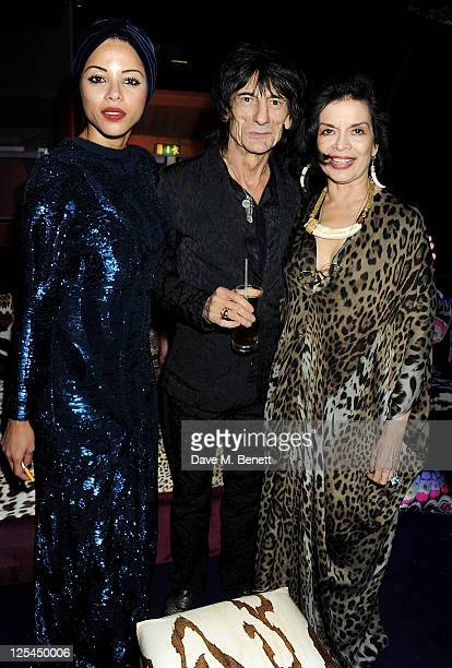 Ana Araujo Ronnie Wood and Bianca Jagger attend an after party celebrating Roberto Cavalli's new Sloane Street boutique at Battersea Power Station on...