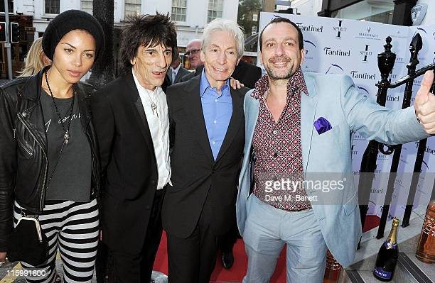 Ana Araujo Ronnie Wood Charlie Watts and Guido Campigotto attend the launch of jockey Frankie Dettori's new restaurant 'Cavallino' on June 13 2011 in...