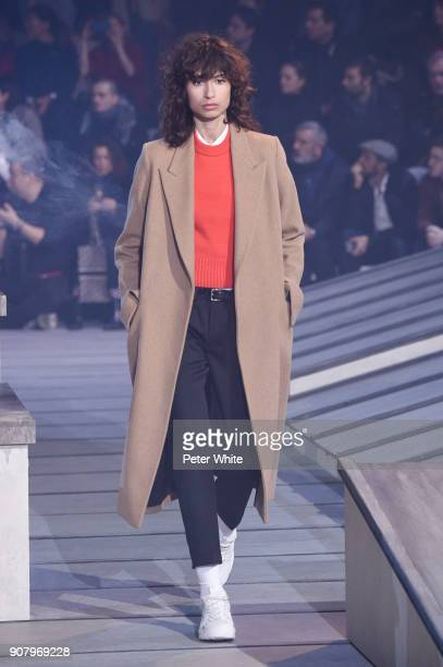 Ana Arto walks the runway during the Ami Alexandre Mattiussi Menswear Fall/Winter 20182019 show as part of Paris Fashion Week on January 18 2018 in...