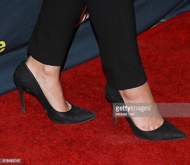 Ana Ayora shoe detail arrives at the Los Angeles premiere of Cinemax's 'Banshee' the 4th and final season held at UTA on March 31 2016 in Beverly...