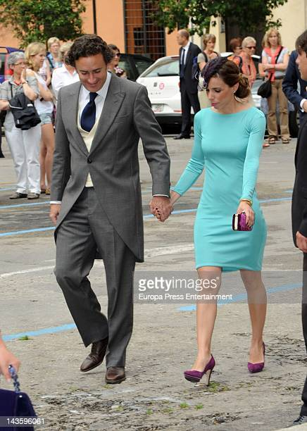Ana Aznar and Alejandro Agag attend Sabina Fluxa and Alfonso Fierro March's wedding on April 28 2012 in Palma de Mallorca Spain
