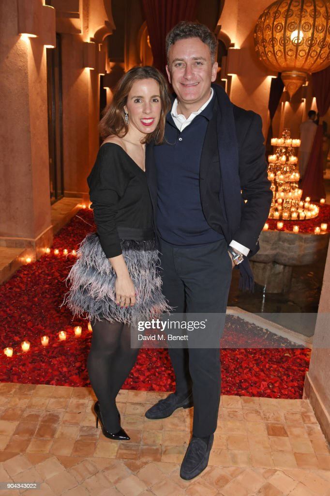 Ana Aznar Botella (L) and FIA Formula E CEO Alejandro Agag attend Orlando Bloom's birthday party with ABB FIA Formula E Championship at Hotel Amanjena on January 12, 2018 in Marrakech, Morocco.