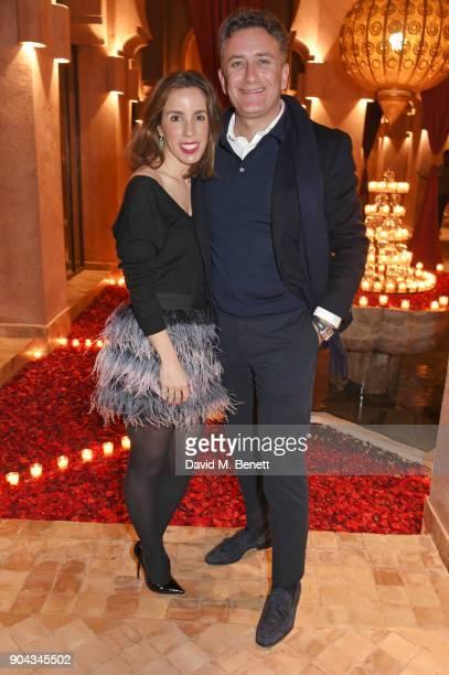 Ana Aznar Botella and FIA Formula E CEO Alejandro Agag attend Orlando Bloom's birthday party with ABB FIA Formula E Championship at Hotel Amanjena on...