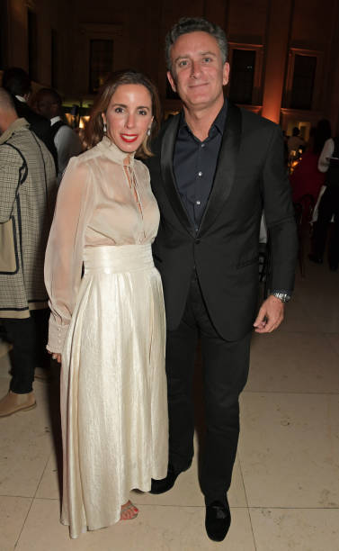 Ana Aznar Botella and Formula E CEO Alejandro Agag attend the Fashion For Relief London 2019 after party at The British Museum on September 14 2019...