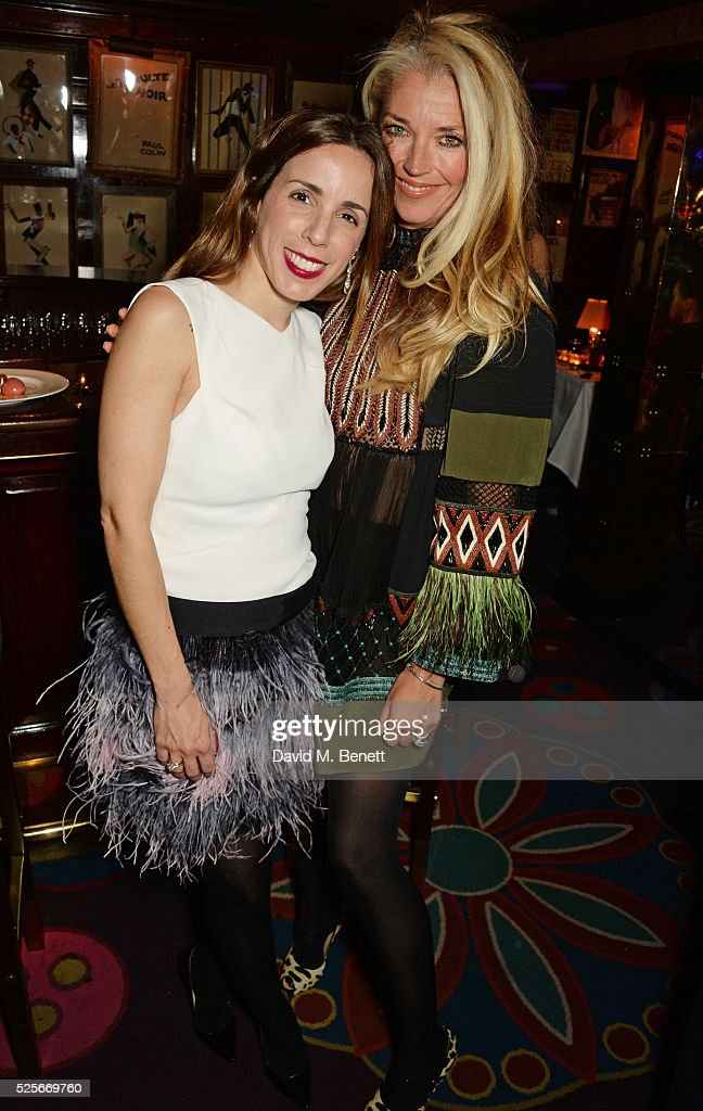 Ana Aznar Botella (L) and Tamara Beckwith attend a private dinner hosted by Fawaz Gruosi, founder of de Grisogono, at Annabels on April 28, 2016 in London, England.