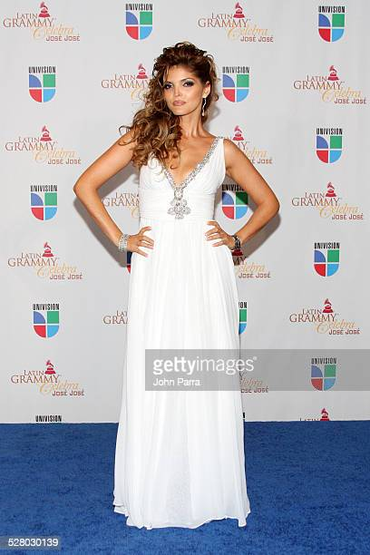Ana Barbara poses on the red carpet at Univision and the Latin Recording Academy Honor Jose Jose at Bank United Center on July 24 2008 in Miami...