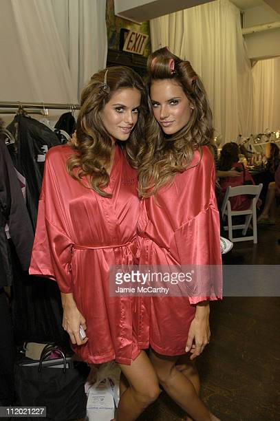 Ana Beatriz Barros and Alessandra Ambrosio during 10th Victoria's Secret Fashion Show Hair and Makeup at The New York State Armory in New York City...
