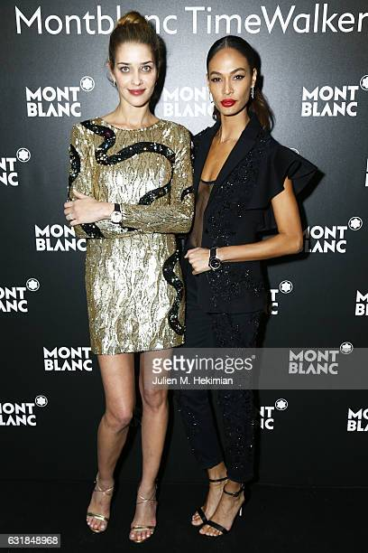 Ana Beatriz Barros and Joan Smalls attend the Montblanc Gala Dinner At Brasserie Des Halles as part of the SIHH on January 16 2017 in Geneva...