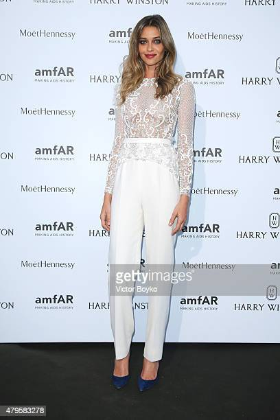 Ana Beatriz Barros attends the amfAR dinner at the Pavillon LeDoyen during the Paris Fashion Week Haute Couture on July 5 2015 in Paris France