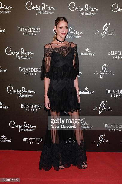 Ana Beatriz Barros poses during a photocall for the Flower Power party at Club Carpe Diem on May 5 2016 in Barcelona Spain