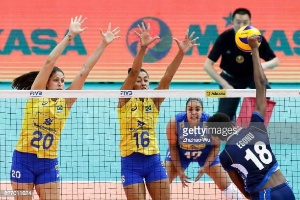 Ana Beatriz Correa and Drussyla Costa of Brazil block during 2017 Nanjing FIVB World Grand Prix Finals between Italy and Brazil on August 6 2017 in...