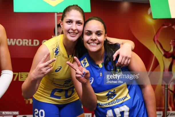 Ana Beatriz Correa and Suelen Pinto of Brazil celebrate before the award ceremony 2017 Nanjing FIVB World Grand Prix Finals between Italy and Brazil...