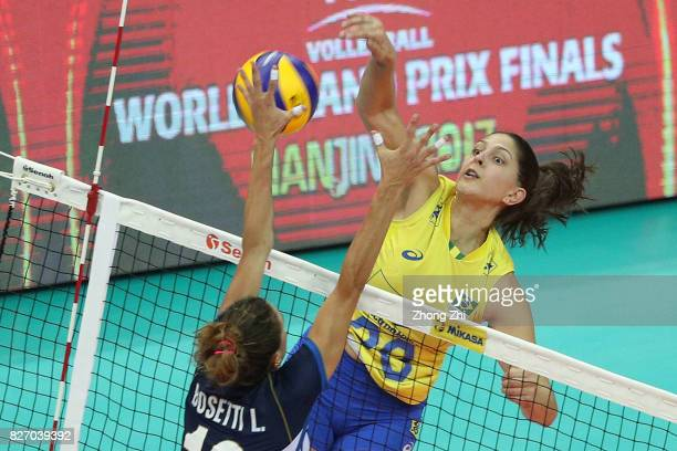 Ana Beatriz Correa of Brazil in action during the final match between Brazil and Italy during 2017 Nanjing FIVB World Grand Prix Finals on August 6...